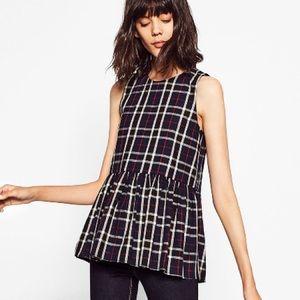 New Zara Plaid Gathered Waist Top w/ back bowties